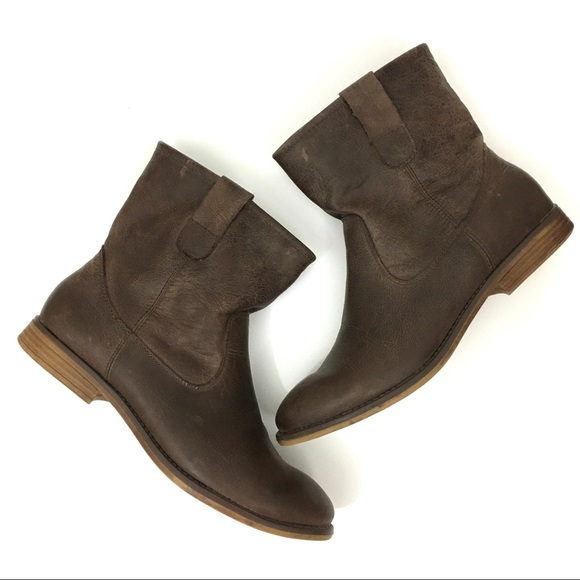 Crown Vintage Brown Leather Ankle Boots Size 39